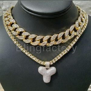 Jewelry - MEN'S ICED OUT LETTER Y NECKLACE SET